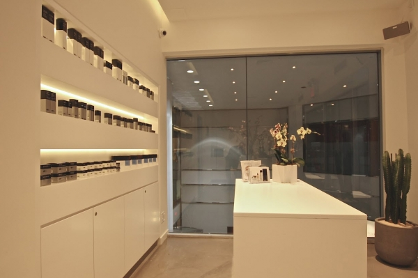KUR Skin Lab Products wall